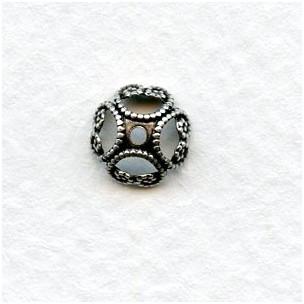 Unique 8mm Filigree Bead Caps Oxidized Silver (12)