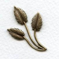 Three Leaf Spray Oxidized Brass Stampings 37mm (6)