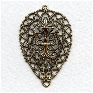 European Filigree Pendant 45mm Oxidized Brass (1)
