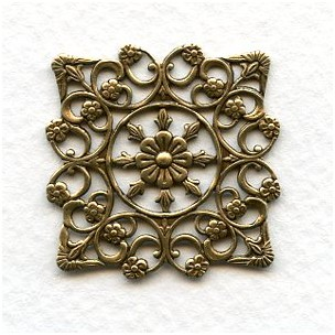 Openwork Square Floral Details Oxidized Brass 29mm (2)