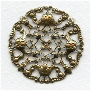 Ornately Detailed Round Filigree Stamping Oxidized Brass (1)