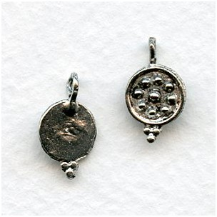 Bead Detail Earring Tops or Pendants Antique Silver (4)