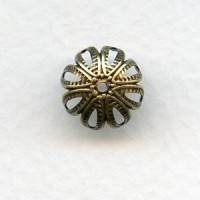 Floral Detail Bead Caps Oxidized Brass 12mm (12)