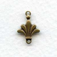 Fleur-de-lis Connectors 2 Loops Solid Oxidized Brass (6)