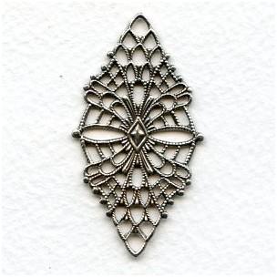 Fine Detail Diamond Shaped Filigree Oxidized Silver (1)