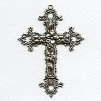 Ornate Floral Cross Pendant 77mm Oxidized Silver (1)