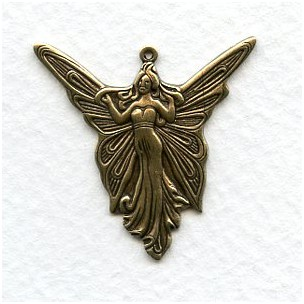 Angel Fairy Goddess Pendants Oxidized Brass (6)