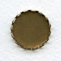 Lace Edge Settings 18mm Round Oxidized Brass (12)