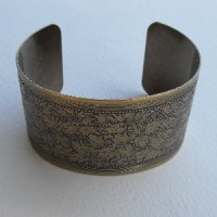 Floral Embossed Oxidized Brass Cuff 37mm