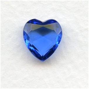 ^Sapphire Glass Heart-Shape Stones Unfoiled 12x11mm