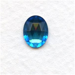 Bermuda Blue Flat Back Faceted Top 10x8mm