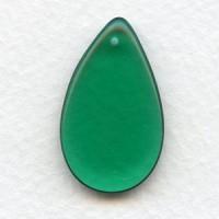 ^Emerald Czech Glass Smooth Pendant 30mm