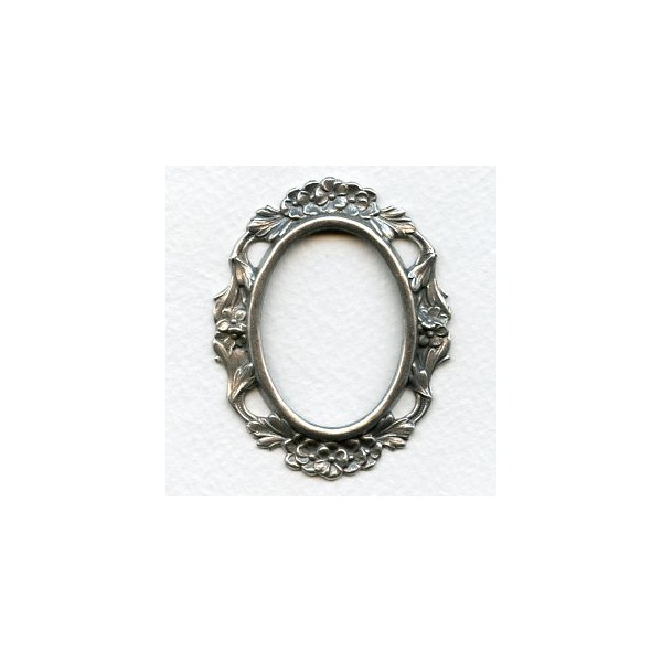 Floral Setting Frame Oxidized Silver (1) - VintageJewelrySupplies.com