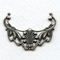 Victorian Filigree Focal Connector Oxidized Silver 48mm (1)