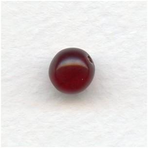 Smooth European Glass Druk Beads Garnet 8mm
