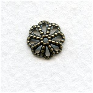 Filigree Bead Caps 9mm Oxidized Brass (50)