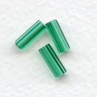 Emerald Czech Glass Hex Tube Beads 10x4mm