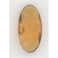 Rare Vintage Glass Pendeloque Topaz Stones 18x9mm ^