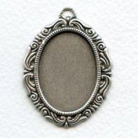 Ornate Settings 30x22mm Oxidized Silver (3)