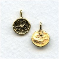 Swirl Design Earring Tops or Pendants Antique Gold (4)