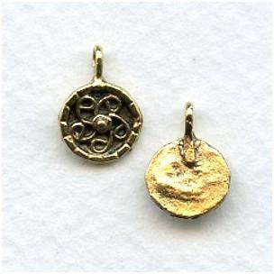 Swirl Design Earring Tops or Pendants Antique Gold (4)