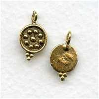 Bead Detail Earring Tops or Pendants Antique Gold (4)