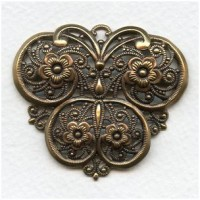 European Filigree Pendant 51mm Oxidized Brass (1)