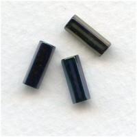 Iris Blue Czech Glass Hex Tube Beads 10x4mm (50)