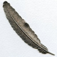 Feather Stamping Oxidized Silver 115mm (1)