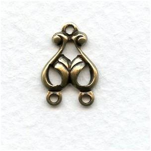 Art Nouveau Style Oxidized Brass 3 Way Connectors 16mm (12)