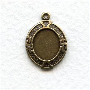 Greek Key Setting Pendant 10x8mm Oxidized Brass