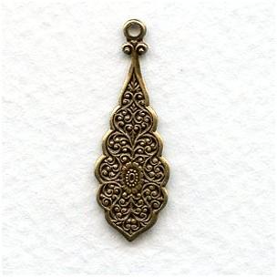 Embossed Pendants for Earrings 30mm Oxidized Brass (6)