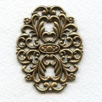Oval Floral Stamping Oxidized Brass 45x35mm (1)
