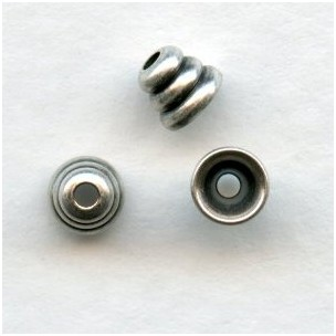 Beehive Oxidized Silver Spacer Bead Caps 3x4mm (24)