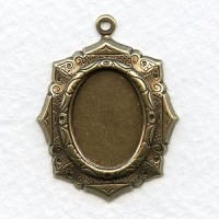 Elaborate Setting Pendants 18x13mm Oxidized Brass (6)