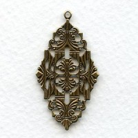Intricate Plaque Stamping Oxidized Brass 41mm