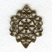 Openwork Filigree Floral Details Oxidized Brass 29mm (2)