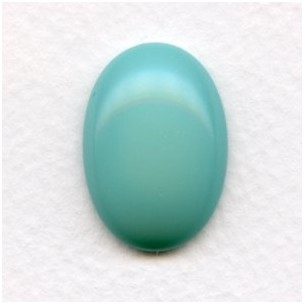 Turquoise Glass Cabochon 25x18mm Flat Back (1)