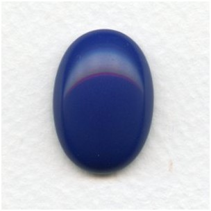 Lapis Blue Glass Cabochon 25x18mm Flat Back (1)
