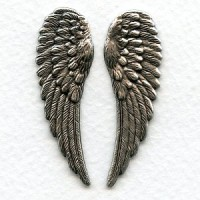 Detailed Oxidized Silver Wings 46mm (1 set)