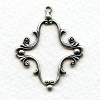 Elaborate Floral 25x18mm Frame Oxidized Silver (2)