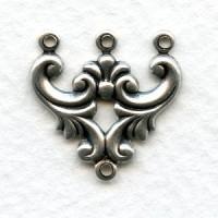 Ornate 3 Strand Jewelry Connectors Oxidized Silver (12)