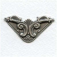 *Ornate Corner Flourish Oxidized Silver Stampings (4)