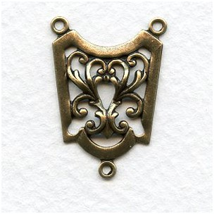 Connector 28mm Ornate 3 Loop Oxidized Brass (6)