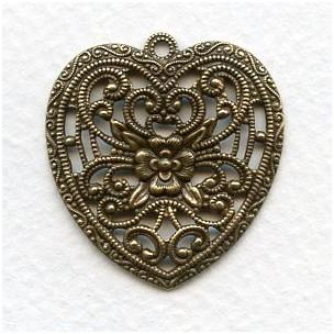 European Made Floral Heart Pendant Brass 34mm (1)