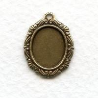 Ornate Pendant Settings 12x10mm Oxidized Brass (12)