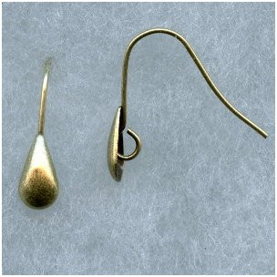 Smooth Shield Earwires with Loop Oxidized Brass
