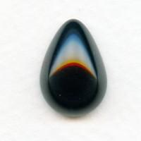 ^Jet Glass Pear Shape Cabochon 18x13mm