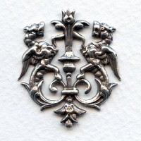 Royal Crest Heraldry Oxidized Silver 35mm