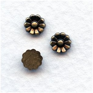 Solid Brass Oxidized Daisy Flower Cabs 5.5mm (12)